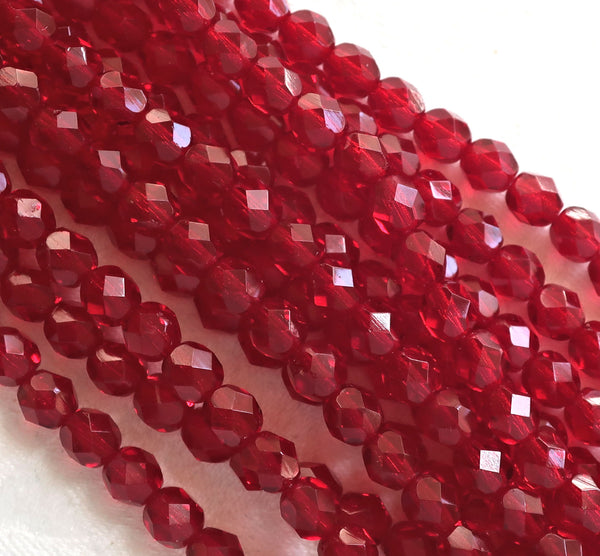 25 6mm Ruby red Czech glass beads, firepolished, faceted round beads, C0625