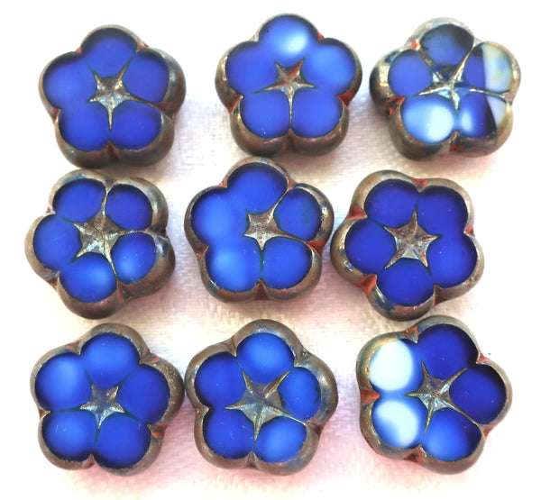 Lot of five 16mm table cut, carved Czech glass flower beads, opaque blue and white marbled glass with silver picasso accents C59101