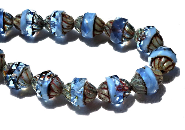 Six Czech glass turbine beads, 11 x 10mm transparent & opaque sapphire blue Czech glass beads with a picasso finish, saturn beads C02101 - Glorious Glass Beads
