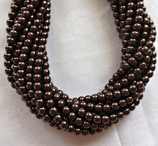 Lot of 100 4mm metallic Chocolate Brown Bronze Czech glass druk beads, dark brown smooth round druks, C40101