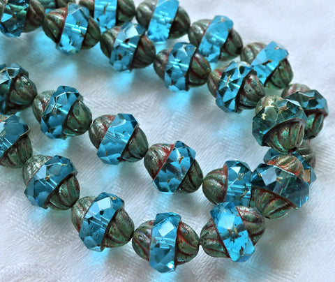 Five Czech glass turbine beads, 11 x 10mm transparent Aqua Blue beads with a picasso finish, saturn beads C0901 - Glorious Glass Beads