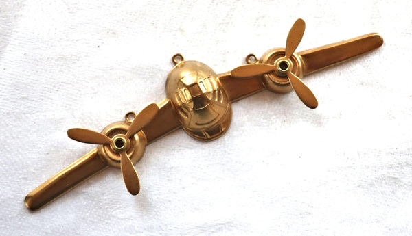 "1 large aeroplane, airplane, raw brass stamping, stylized 1950s retro plane, ornament, pendant, component 3.75"" x .75"" mm, USA made 61101"