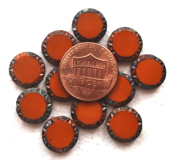 6 Czech glass coin beads, 12mm disc beads, table-cut carved Aztec, Mayan sun rustic, earthy opaque pumpkin orange, sienna picasso 05101 - Glorious Glass Beads