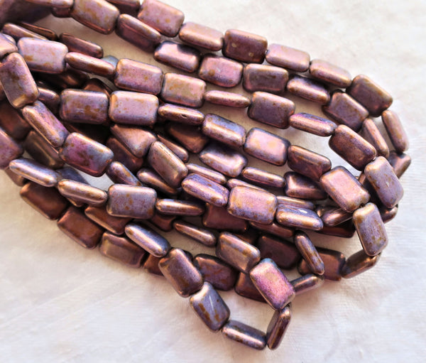 Ten Czech glass rectangular beads - opaque amethyst, purple luster rectangle beads - 12mm x 8mm, C6901