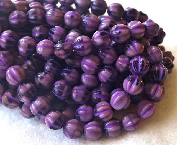 25 Czech glass melon beads, 6mm opaque purple, amethyst pressed glass beads C0901 - Glorious Glass Beads