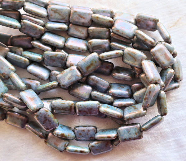 Lot of ten rectangular Czech glass beads - rustic, earthy opaque blue luster pressed glass rectangle beads - 12mm x 8mm, C9601