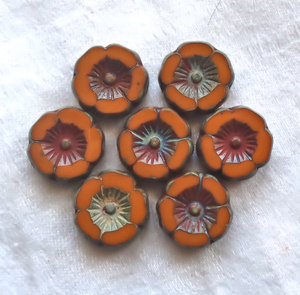 Twelve 12mm Czech table cut, carved,Czech glass flowers, rustic, earthy, Orange Rust Mustard picasso Hawaiian flower beads C55201