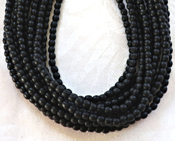 Lot of 100 3mm matte jet black Czech glass druks, smooth round druk beads C4301