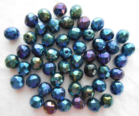 Lot of 25 8mm Blue Iris, faceted, round, firepolished glass beads, C2525