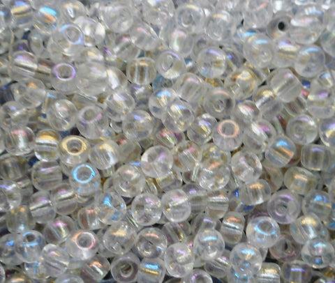 24 grams Crystal AB Czech 6/0 large glass seed beads, size 6 Preciosa Rocaille 4mm spacer beads, large, big hole C0824 - Glorious Glass Beads