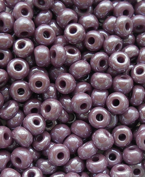 Pkg of 24 grams Light Purple, Opaque Luster Glass Czech 6/0 seed beads, size 6 Preciosa Rocaille 4mm spacer beads, big hole C0824