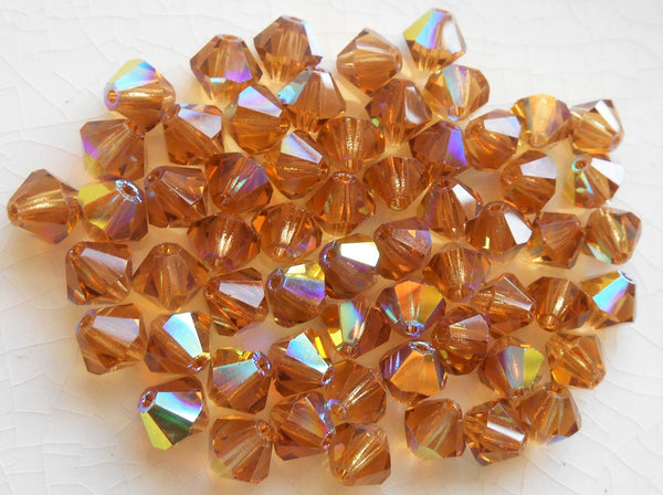 Lot of 24 6mm Light Colorado Topaz AB Czech Preciosa Crystal bicone beads, faceted glass brown bicones C60101