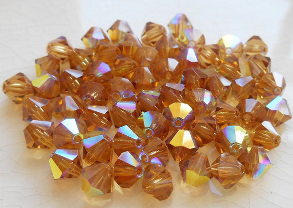 Lot of 24 6mm Light Colorado Topaz AB Czech Preciosa Crystal bicone beads, faceted glass brown bicones C60101 - Glorious Glass Beads