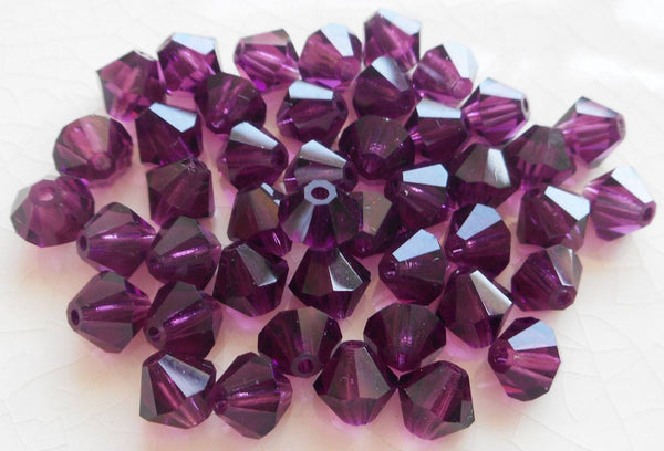 Lot of 24 6mm Amethyst Czech Preciosa Crystal bicone beads, faceted glass purple bicones C4801