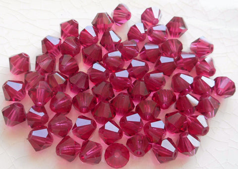 Lot of 24 6mm Fuchsia Czech Preciosa Crystal bicone beads, faceted glass bright pink bicones C4801 - Glorious Glass Beads