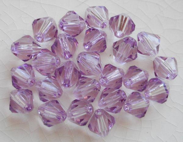 Lot of 24 6mm Light Tanzanite Czech Preciosa Crystal bicone beads, faceted glass purple, lavender bicones C4801