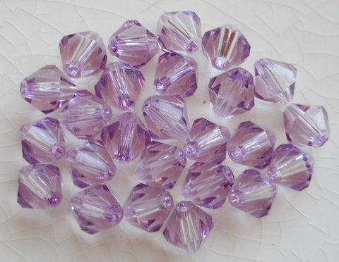 Lot of 24 6mm Light Tanzanite Czech Preciosa Crystal bicone beads, faceted glass purple, lavender bicones C4801 - Glorious Glass Beads