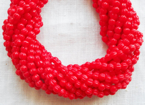 Fifty 3mm Opaque Red melon beads, Czech pressed glass beads C9650 - Glorious Glass Beads