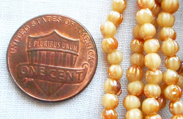 Fifty 3mm Antique Beige Celsian melon beads, neutral Czech pressed glass beads C5750 - Glorious Glass Beads