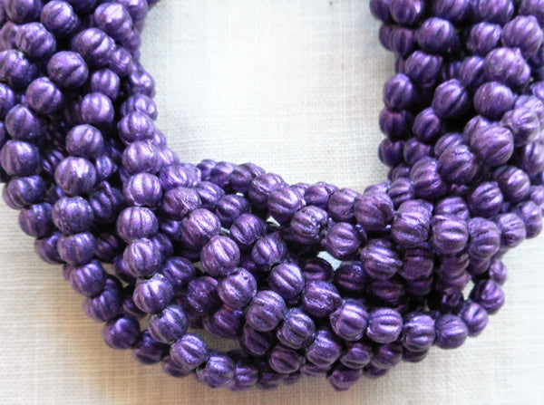 Lot of 100 3mm Purple Sueded, Suede Amethyst melon beads, Czech pressed glass beads C8550 - Glorious Glass Beads