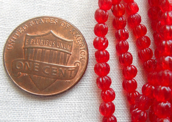 Fifty 3mm Translucent Siam Ruby Red melon beads, Czech pressed glass beads C1650 - Glorious Glass Beads