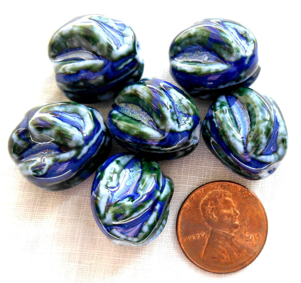 One large blue and green twisted oval ceramic focal bead, 18mm by 17mm, big hole, large hole, 2.75mm hole, sold by the piece C5401