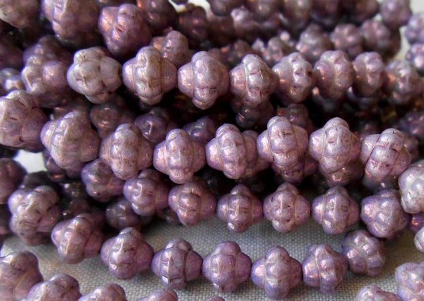 Lot of 25 Czech glass small 5mm x 6mm opaque lavender or purple luster saturn or saucer beads, spacer beads C7625