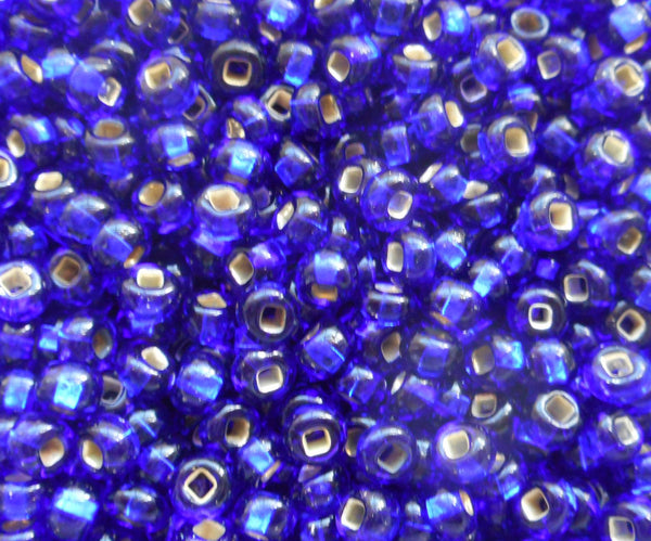 Pkg of 24 grams Cobalt Blue Silver Lined Czech glass 6/0 large glass seed beads, size 6 Preciosa Rocaille 4mm spacer beads, big hole C1524
