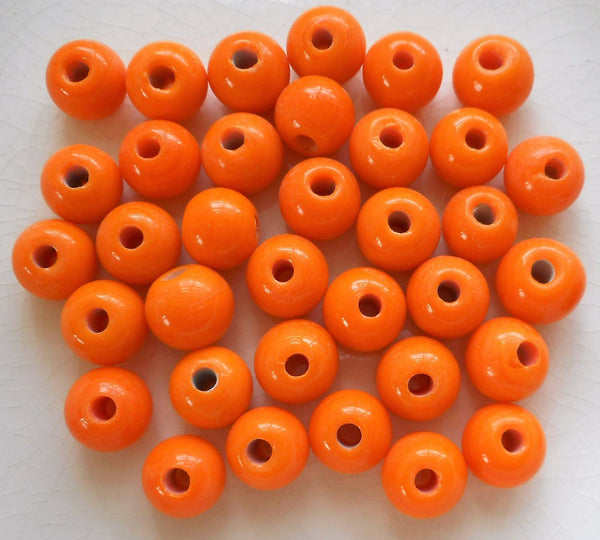 Ten 12mm Bright Opaque Orange big large hole glass beads with 3mm holes, smooth round druk beads, Made in India C3601