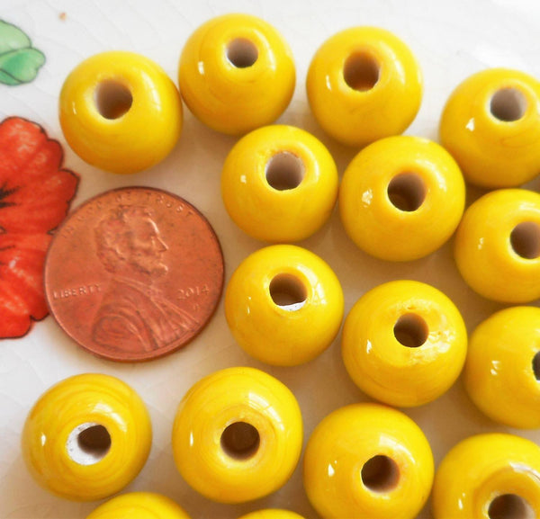 Ten 12mm Bright Opaque Yellow big large hole glass beads with 3mm holes, smooth round druk beads, Made in India C3601