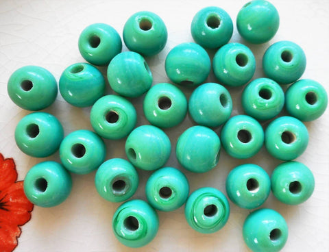 Ten 12mm Bright Opaque Green big large hole glass beads with 3mm holes, smooth round druk beads, Made in India C7601