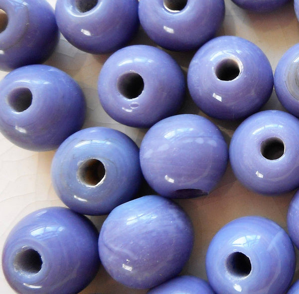 Ten 12mm Opaque Blue, Purple, Periwinkle big large hole glass beads with 3mm holes, smooth round druk beads, Made in India C1709