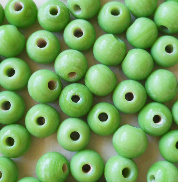 Ten 12mm Bright Opaque Lime Green big large hole glass beads with 3mm holes, smooth round druk beads, Made in India C7601