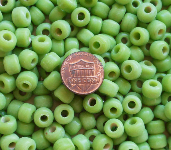 25 9mm Opaque Matte Lime Green glass pony roller beads, large hole, big hole crow beads, Made in India, C6201 - Glorious Glass Beads