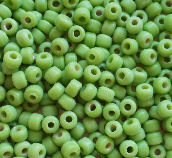 Lot of 25 9mm Opaque Lime Green glass pony roller beads, large hole, big hole crow beads, Made in India, C6401 - Glorious Glass Beads