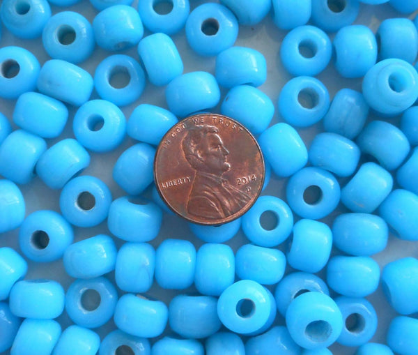 25 9mm Opaque Turquoise Blue glass pony roller beads, large hole, big hole crow beads, Made in India, C0401 - Glorious Glass Beads