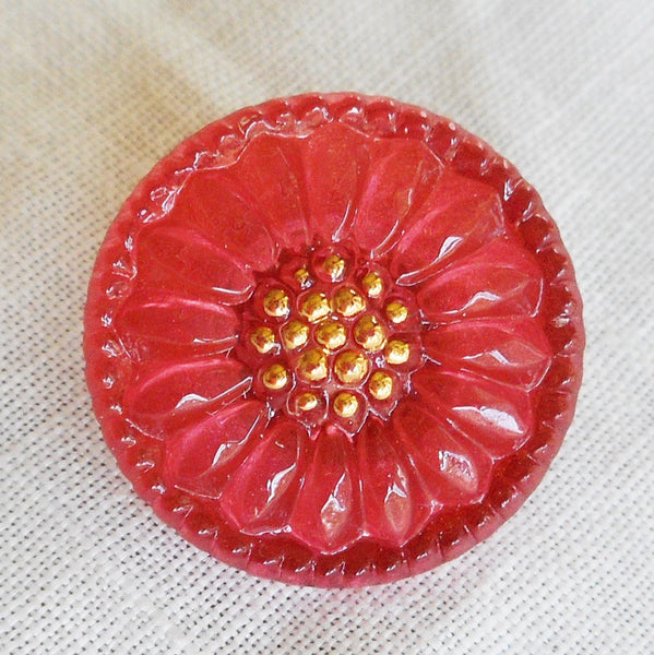 One 18mm Czech glass button, Salmon Pink sunflower with gold accents, floral decorative shank button 89101