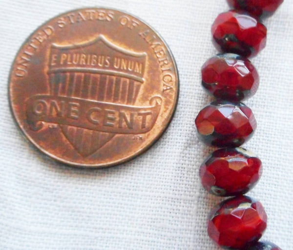 Lot of 25 Translucent Ruby Red Picasso faceted puffy rondelle or donut beads, 5 x 7mm, Czech glass beads C00201