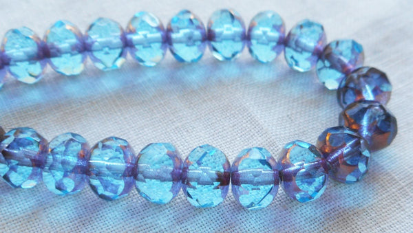 Lot of 25 faceted puffy rondelle or donut Czech glass beads, Transparent Aqua Blue with Gold Picasso accents, 5 x 7mm C00201 - Glorious Glass Beads