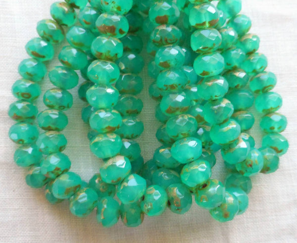 Lot of 25 Translucent teal, blue green Picasso faceted puffy rondelle or donut beads, 5 x 7mm, Czech glass beads C00201