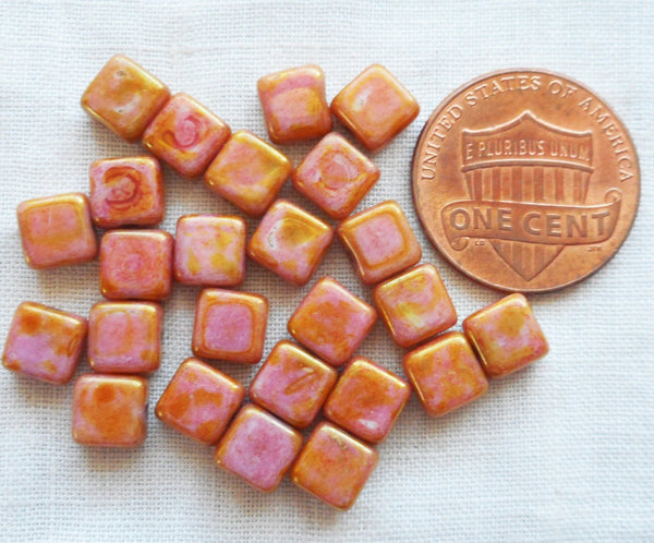 Lot of 25 6mm one hole square Czech glass beads, opaque white with a pink and goldstone finish, flat square beads C71101