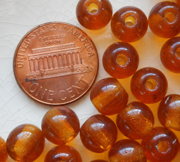 Lot of 25 8mm Czech glass big hole beads, Topaz brown smooth round druk beads with 2mm holes C0401