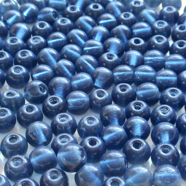 Lot of 25 8mm Czech glass big hole beads, Montana Blue smooth round druk beads with 2mm holes C0401 - Glorious Glass Beads