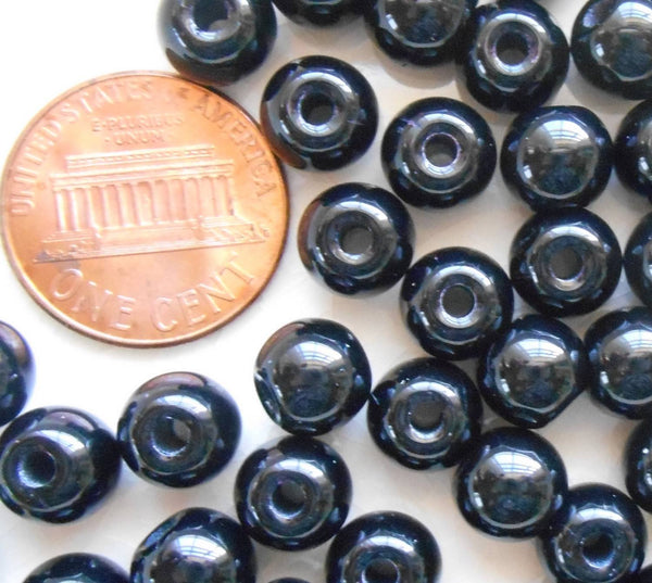 Lot of 25 8mm Czech glass big hole beads, Jet Black smooth round druk beads with 2mm holes C4601 - Glorious Glass Beads