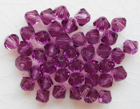 Lot of 24 4mm Amethyst Czech Preciosa Crystal bicone beads, faceted glass purple bicones C2501 - Glorious Glass Beads