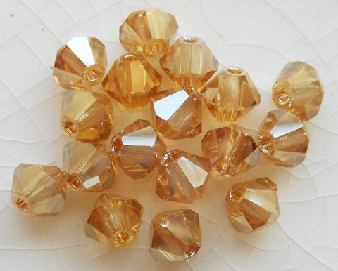 Lot of 24 4mm Golden Flare Gold Metallic Czech Preciosa Crystal bicone beads, faceted gold glass bicones C3501