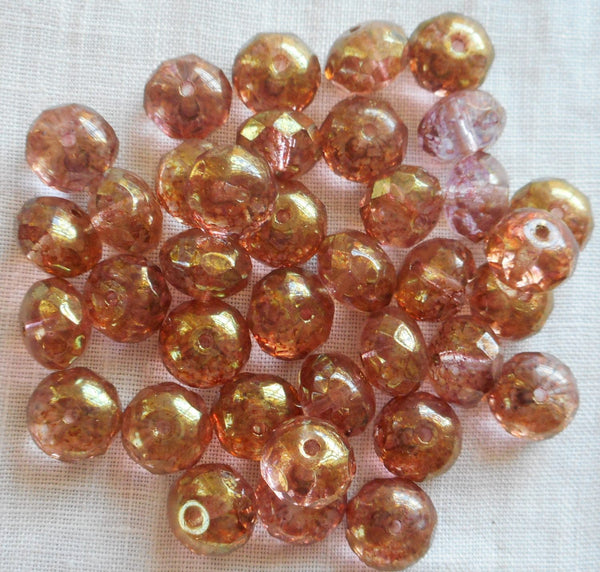 Lot of 25 Lumi Pink Picasso puffy rondelles , 6 x 9mm faceted Czech glass rondelle beads C91101