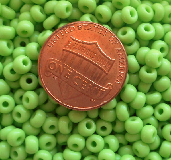 Pkg 24 grams Opaque Lime Green Czech 6/0 large glass seed beads, size 6 Preciosa Rocaille 4mm spacer beads, large, big hole C6324 - Glorious Glass Beads