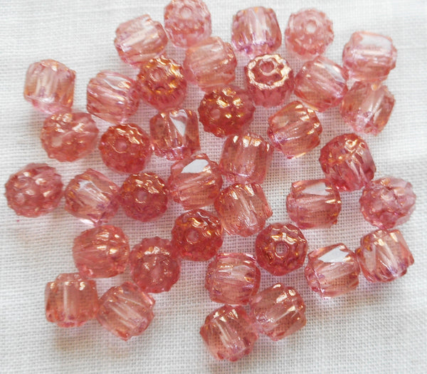 Lot of 25 Pink 6mm crown picasso beads, faceted, firepolished, antique cut, Czech glass beads C20101
