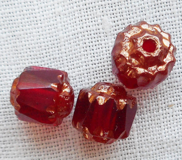 Lot of 25 Garnet, Ruby Red 6mm crown picasso beads, faceted, firepolished, antique cut, Czech glass beads C1801
